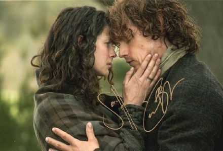 Sam Heughan & Caitriona Balfe, Outlander, signed 12x8 inch photo.